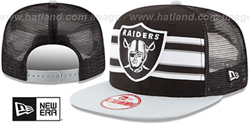 Raiders 'THROWBACK-STRIPE SNAPBACK' Black-Grey Hat by New Era