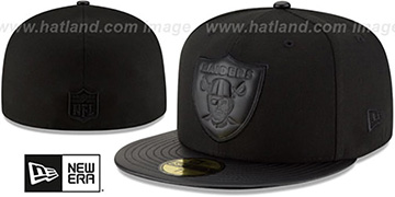 Raiders 'TONAL TRICK' Black Fitted Hat by New Era