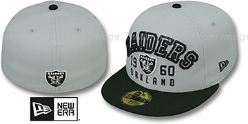 Raiders 'WORD-KNOCK' Grey-Black Fitted Hat by New Era