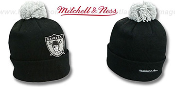 Raiders XL-LOGO BEANIE Black by Mitchell and Ness