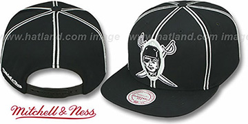 Raiders 'XL-LOGO SOUTACHE SNAPBACK' Black Adjustable Hat by Mitchell and Ness