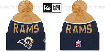 Rams 2015 STADIUM Navy-Gold Knit Beanie Hat by New Era