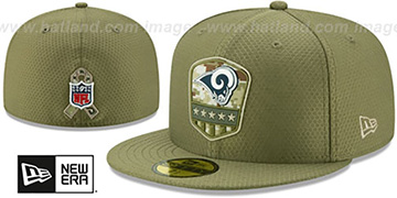 Rams '2019 SALUTE-TO-SERVICE' Olive Fitted Hat by New Era