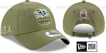 Rams 2019 SALUTE-TO-SERVICE STRAPBACK Olive Hat by New Era