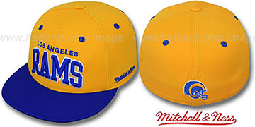 Rams '2T CLASSIC-ARCH' Gold-Royal Fitted Hat by Mitchell and Ness