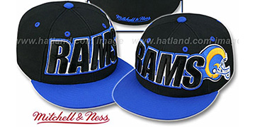 Rams '2T WORDMARK' Black-Royal Fitted Hat by Mitchell & Ness