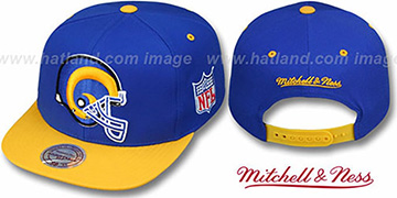 Rams '2T XL-LOGO SNAPBACK' Royal-Gold Adjustable Hat by Mitchell & Ness
