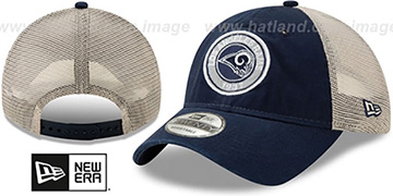 Rams ESTABLISHED CIRCLE TRUCKER SNAPBACK Hat by New Era