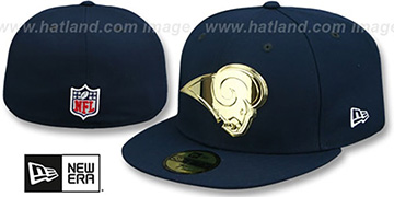 Rams GOLD METAL-BADGE Navy Fitted Hat by New Era