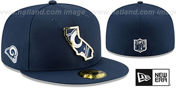 Rams GOLD STATED INSIDER Navy Fitted Hat by New Era