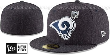 Rams HEATHERED-PIN Navy Fitted Hat by New Era