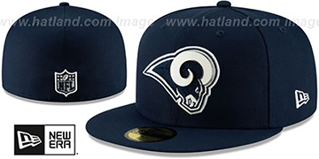 Rams METAL-N-THREAD Navy Fitted Hat by New Era
