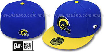 Rams NFL 2T THROWBACK TEAM-BASIC Royal-Gold Fitted Hat by New Era