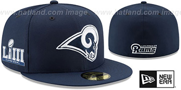 Rams NFL SUPER BOWL LIII ONFIELD Navy Fitted Hat by New Era