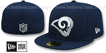 Rams NFL TEAM-BASIC Navy-White Fitted Hat by New Era