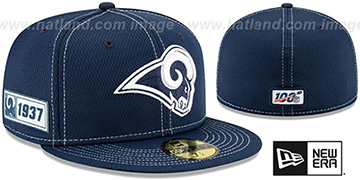 Rams ONFIELD SIDELINE ROAD Navy Fitted Hat by New Era