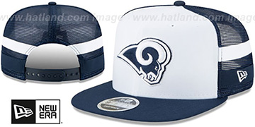 Rams SIDE-STRIPED TRUCKER SNAPBACK Hat by New Era