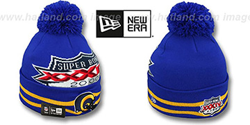 Rams 'SUPER BOWL XXXIV' Royal Knit Beanie Hat by New Era
