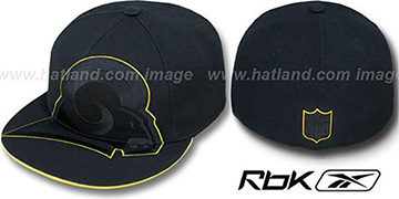 Rams SUPERSIZE TRACE Black Fitted Hat by Reebok