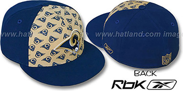 Rams TEAM-PRINT PINWHEEL Gold-Navy Fitted Hat by Reebok