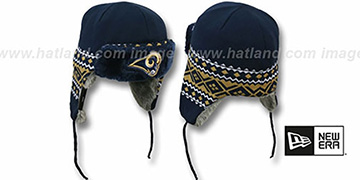 Rams 'TRAPPER' Navy Knit Hat by New Era