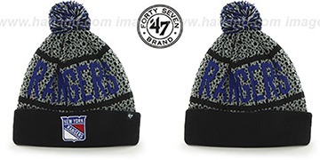 Rangers 'BEDROCK' Black-Grey Knit Beanie Hat by Twins 47 Brand