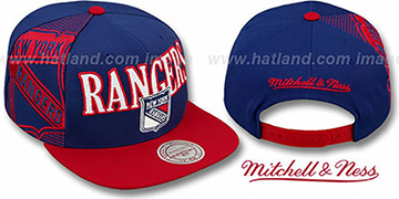 Rangers LASER-STITCH SNAPBACK Navy-Red Hat by Mitchell and Ness