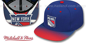Rangers STOP-ON-A-DIME SNAPBACK Royal-Red Hat by Mitchell and Ness