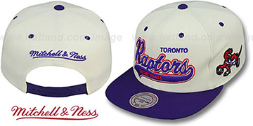 Raptors '2T TAILSWEEPER SNAPBACK' White-Purple Hat by Mitchell & Ness