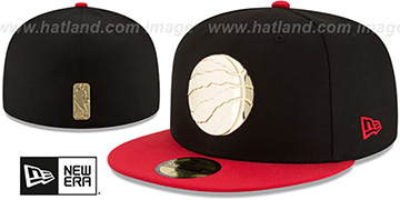 Raptors GOLDEN-BADGE Black-Red Fitted Hat by New Era