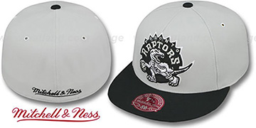 Raptors MONOCHROME XL-LOGO Grey-Black Fitted Hat by Mitchell & Ness