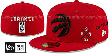Raptors MULTI-AROUND Red Fitted Hat by New Era