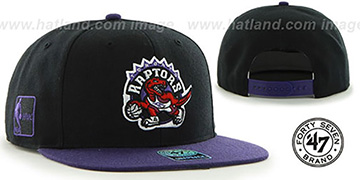 Raptors 'SURE-SHOT SNAPBACK' Black-Purple Hat by Twins 47 Brand