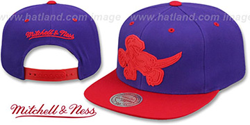 Raptors XL RUBBER WELD SNAPBACK Purple-Red Adjustable Hat by Mitchell and Ness