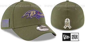Ravens 2018 SALUTE-TO-SERVICE FLEX Olive Hat by New Era