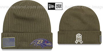 Ravens 2018 SALUTE-TO-SERVICE Olive Knit Beanie Hat by New Era