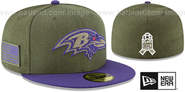 Ravens 2018 SALUTE-TO-SERVICE Olive-Purple Fitted Hat by New Era