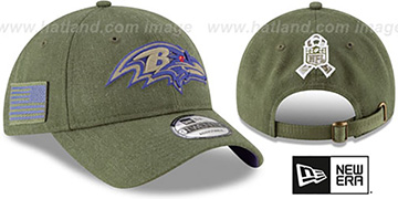 Ravens 2018 SALUTE-TO-SERVICE STRAPBACK Olive Hat by New Era