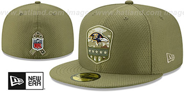 Ravens 2019 SALUTE-TO-SERVICE Olive Fitted Hat by New Era
