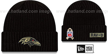 Ravens 2020 SALUTE-TO-SERVICE Black Knit Beanie Hat by New Era