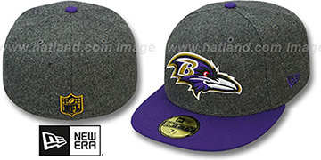 Ravens '2T NFL MELTON-BASIC' Grey-Purple Fitted Hat by New Era