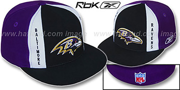 Ravens AJD PINWHEEL Black-Purple Fitted Hat by Reebok