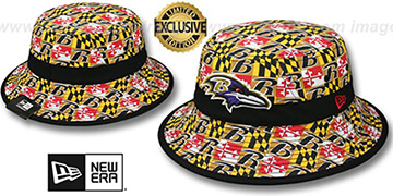 Ravens ALL-OVER MARYLAND FLAG BUCKET Hat by New Era
