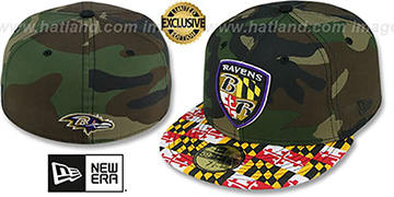 Ravens ALT MARYLAND-FLAG Army Camo Fitted Hat by New Era