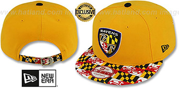 Ravens ALT 'MARYLAND-FLAG STRAPBACK' Gold Hat by New Era