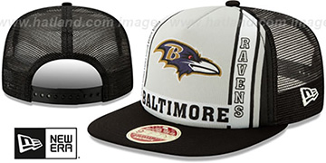 Ravens BANNER FOAM TRUCKER SNAPBACK Hat by New Era