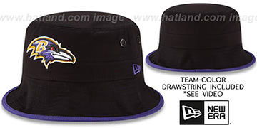 Ravens BASIC-ACTION Black Bucket Hat by New Era
