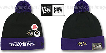 Ravens BUTTON-UP Knit Beanie Hat by New Era