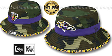 Ravens ARMY CAMO MARYLAND FLAG BUCKET Hat by New Era