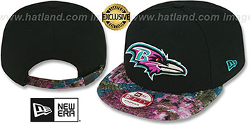 Ravens 'FLORAL-FUR STRAPBACK' Black-Purple Hat by New Era